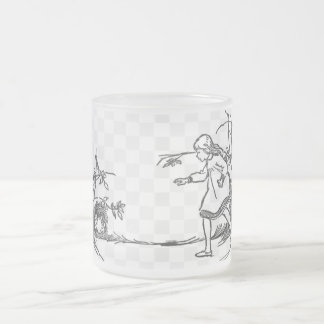 Alice Chasing the Rabbit Frosted Glass Coffee Mug