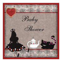 Alice & Cheshire Cat Baby Shower Tea Party Invites