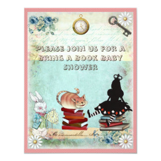 Alice & Cheshire Cat Bring a Book Baby Shower Card