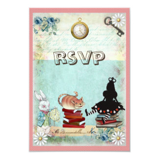 Alice & Cheshire Cat RSVP Bring a Book Baby Shower 3.5x5 Paper Invitation Card