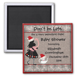 Alice Christmas Baby Shower Save the Date Fridge Magnet