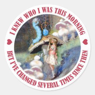 Alice Confides in the Caterpillar Classic Round Sticker