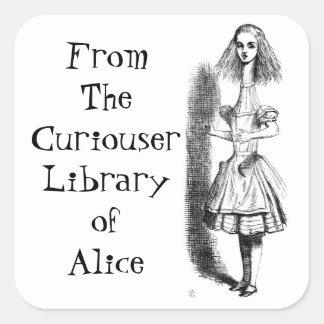 Alice Curiouser Bookplate Sticker