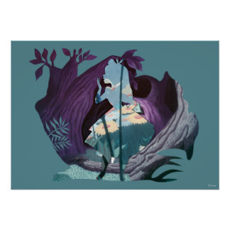 Alice Daisy Field Silhouette in Tulgey Woods Poster