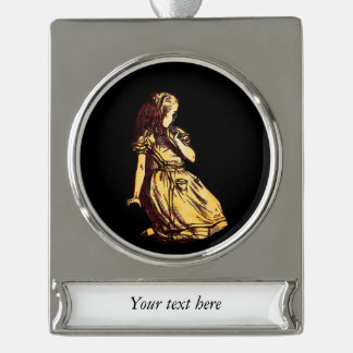 Alice Daydreaming Silver Plated Banner Ornament