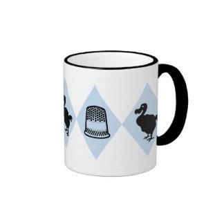 Alice Dodo and Thimble Pattern Ringer Coffee Mug