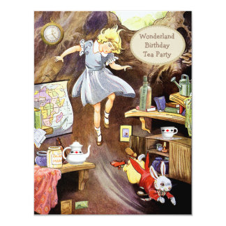 Alice Down the Rabbit Hole Birthday Tea Party 4.25x5.5 Paper Invitation Card