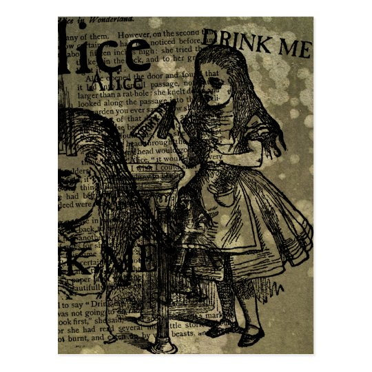 Alice Drink Me Collage Postcard