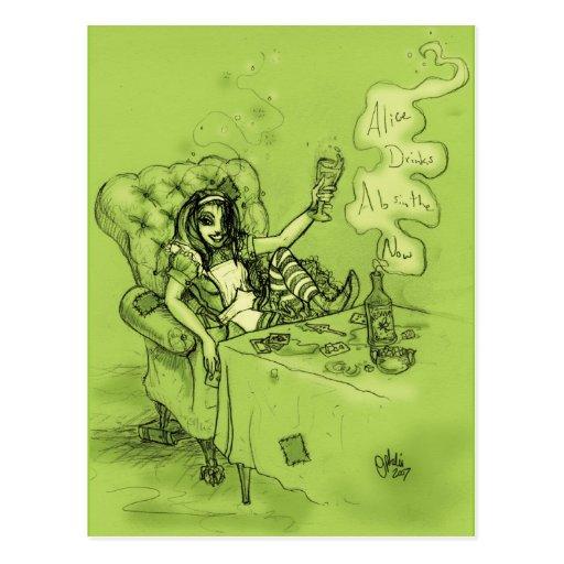 Alice Drinks Absinthe Now Postcards