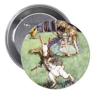 Alice Encounters a Rabbit Distraction Pinback Button