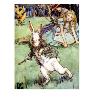 Alice Encounters A Rabbit Distraction Post Cards
