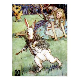 Alice Encounters A Rabbit Distraction Postcard