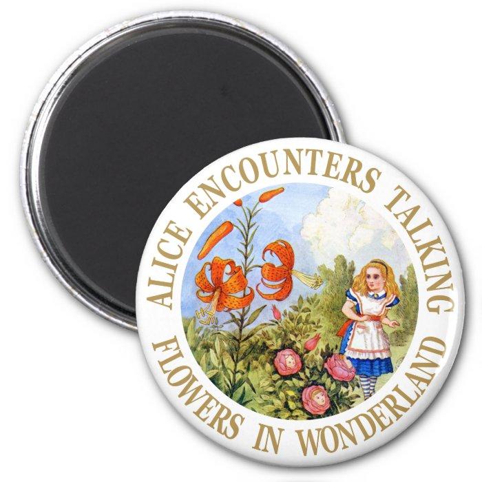 Alice Encounters Talking Flowers in Wonderland 2 Inch Round Magnet