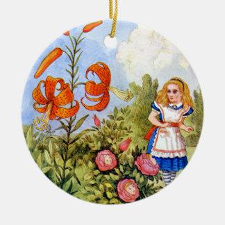 Alice Encounters Talking Flowers in Wonderland Ceramic Ornament