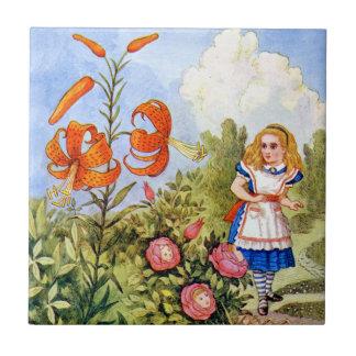 Alice Encounters Talking Flowers in Wonderland Ceramic Tile
