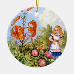 Alice Encounters Talking Flowers in Wonderland Double-Sided Ceramic Round Christmas Ornament