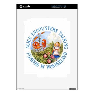 Alice Encounters Talking Flowers in Wonderland iPad 2 Skin