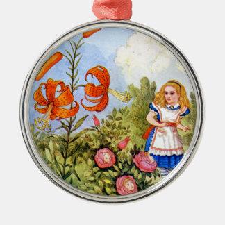 Alice Encounters Talking Flowers in Wonderland Metal Ornament