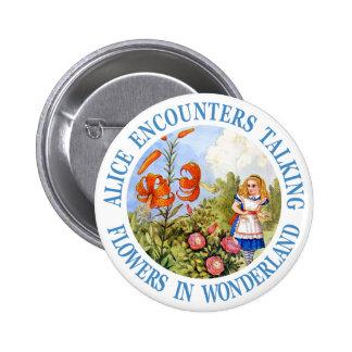 Alice Encounters Talking Flowers in Wonderland Pinback Button