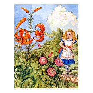 Alice Encounters Talking Flowers in Wonderland Postcard