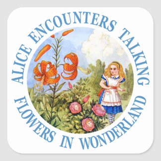 Alice Encounters Talking Flowers in Wonderland Square Sticker