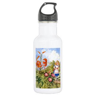 Alice Encounters Talking Flowers in Wonderland Stainless Steel Water Bottle
