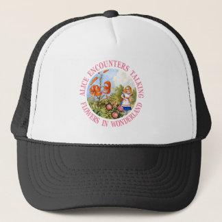 Alice Encounters Talking Flowers In Wonderland Trucker Hat