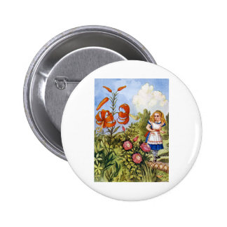 ALICE ENCOUNTERS THE TALKING FLOWERS BUTTON