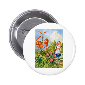 ALICE ENCOUNTERS THE TALKING FLOWERS PINBACK BUTTON