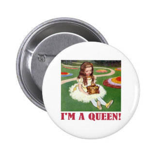 """Alice exclaims, """"I am a Queen!"""" Pinback Button"""