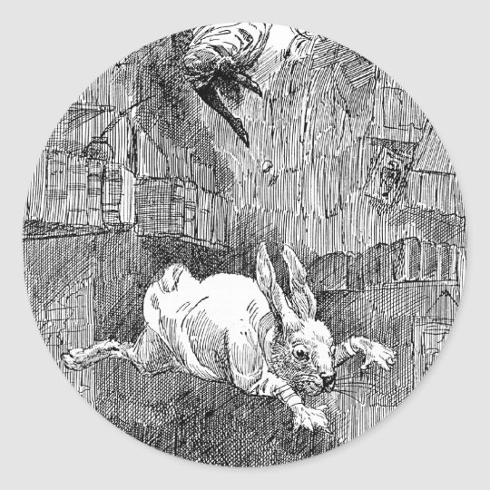 Alice Falling Down the Rabbit-Hole Classic Round Sticker