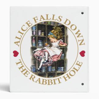 ALICE FALLS DOWN THE RABBIT HOLE VINYL BINDER
