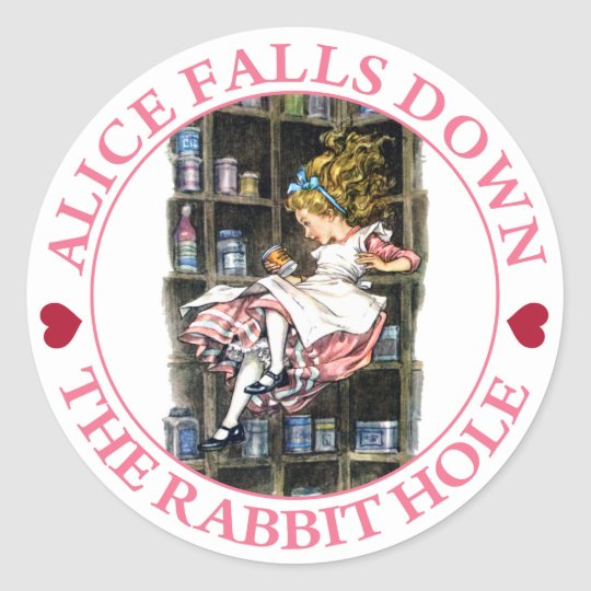 ALICE FALLS DOWN THE RABBIT HOLE CLASSIC ROUND STICKER