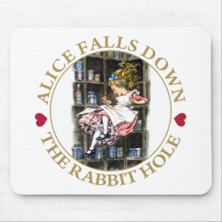 ALICE FALLS DOWN THE RABBIT HOLE MOUSE PAD