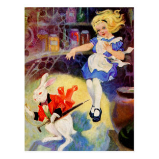 ALICE FALLS DOWN THE RABBIT HOLE POSTCARD