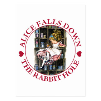 ALICE FALLS DOWN THE RABBIT HOLE POSTCARD