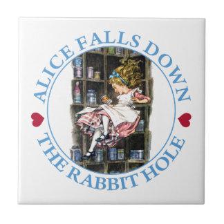 Alice Falls Down the Rabbit Hole to Wonderland Ceramic Tile