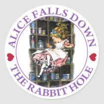 Alice Falls Down the Rabbit Hole To Wonderland Classic Round Sticker
