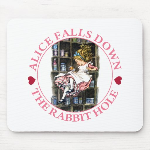 Alice Falls Down the Rabbit Hole to Wonderland Mouse Pad