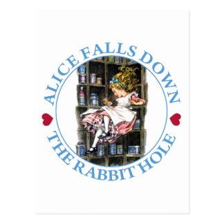 Alice Falls Down the Rabbit Hole to Wonderland Postcard