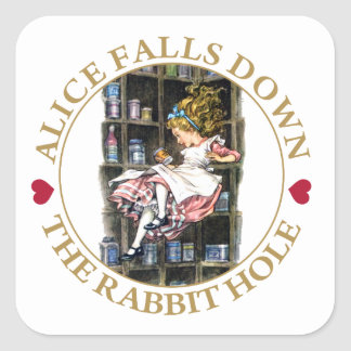 Alice Falls Down the Rabbit Hole to Wonderland Square Stickers