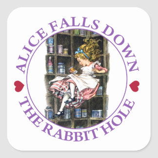 Alice Falls Down the Rabbit Hole To Wonderland Square Sticker