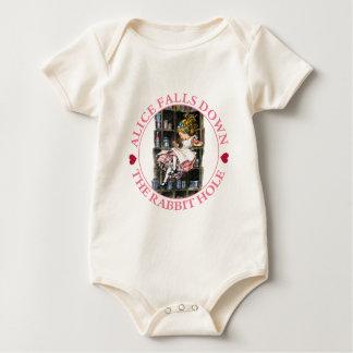 Alice Falls Down the Rabbit Hole to Wonderland Baby Creeper