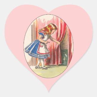 Alice Finds the Door Heart Stickers