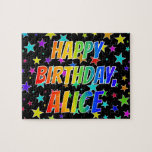 "[ Thumbnail: ""Alice"" First Name, Fun ""Happy Birthday"" Jigsaw Puzzle ]"