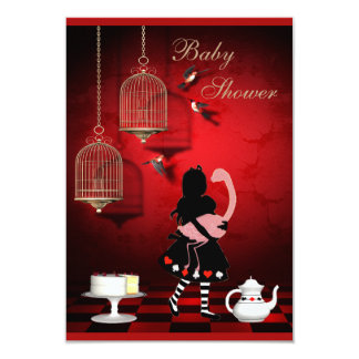 Alice & Flamingo Birds & Cages Baby Shower Personalized Invite