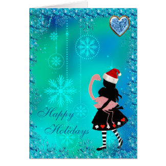 Alice & Flamingo Blue Sequins Christmas Card