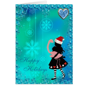 Christmas Themed Alice & Flamingo Blue Sequins Christmas Card