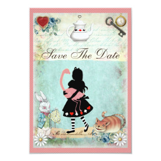 """Alice, Flamingo & Cat Baby Shower Save the Date 3.5"""" X 5"""" Invitation Card"""