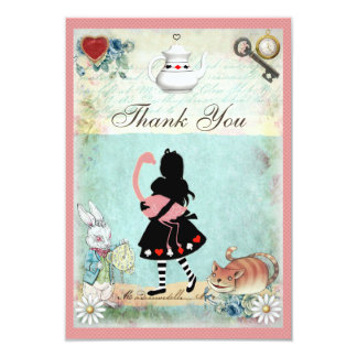 Alice, Flamingo & Cat Baby Shower Thank You Card